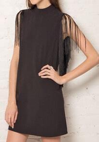 Black Stand Collar Sleeveless Tassel Dress