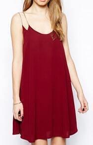 Red Chain Spaghetti Strap Loose Dress