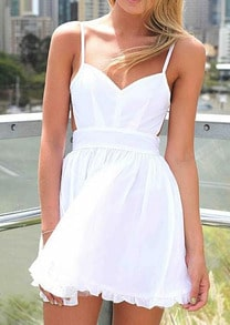 White Pool Spaghetti Strap Pleated Strappy Flare Dress