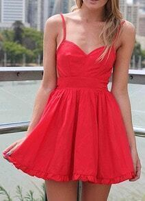 Red Spaghetti Strap Pleated Flare Dress