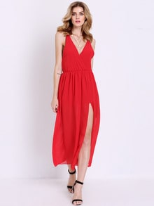 Red Deep V Neck Split Maxi Dress