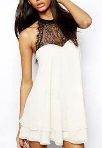 White Sleeveless Lace Bow Chiffon Dress