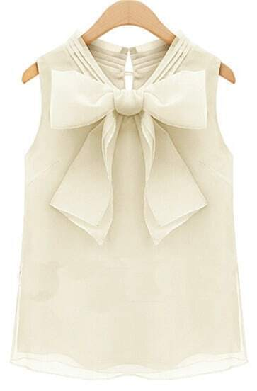 Beige Sleeveless Bow Chiffon Tank Top