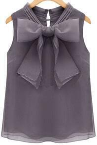 Grey Sleeveless Bow Chiffon Blouse