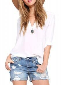 White V Neck Dip Hem Blouse