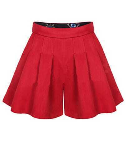 Red High Waist Ruffle Shorts