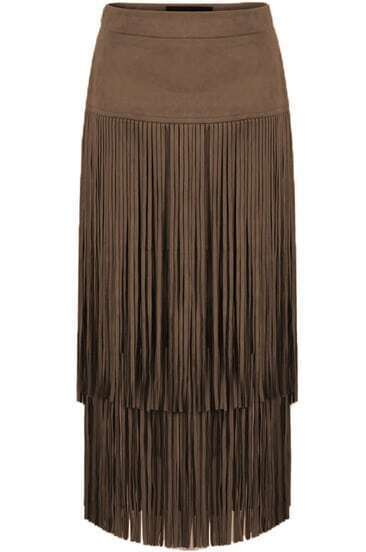 Coffee Tassel Slim Skirt