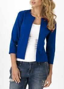 Royal Blue Round Neck Fitted Simple Coat