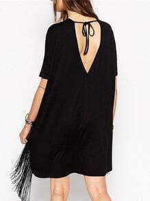 Black Short Sleeve Tassel Shift Dress