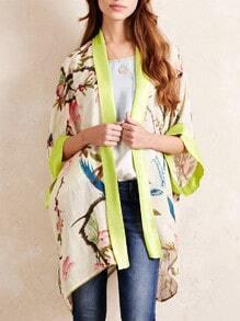 Apricot Batwing Sleeve Floral Print Kimono