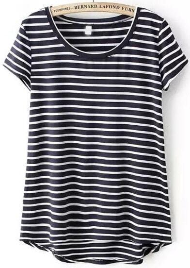 Navy Short Sleeve Striped Dip Hem T-Shirt