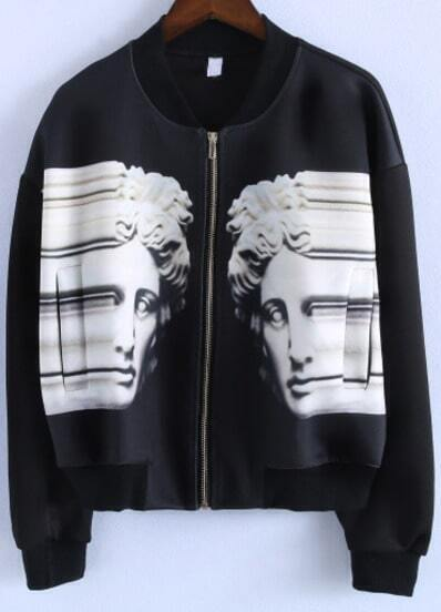 Black Long Sleeve Statue Print Crop Jacket