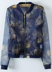 Navy Long Sleeve Floral Organza Jacket