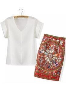 White V Neck Short Sleeve Top With Floral Skirt