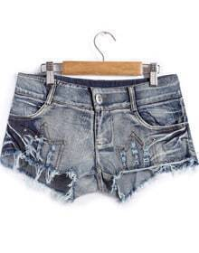 Blue Ripped Rivet Denim Shorts
