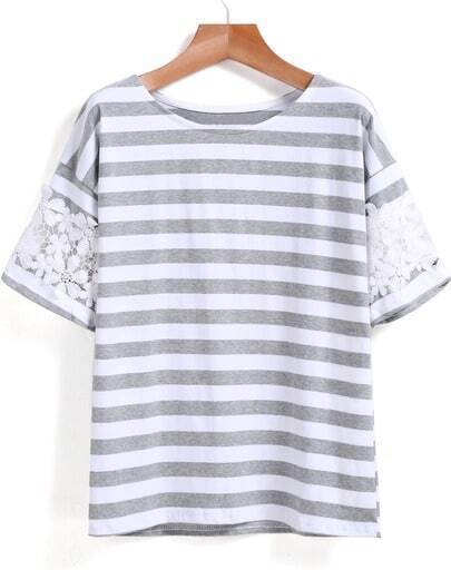 Grey White Lace Short Sleeve Striped T-Shirt
