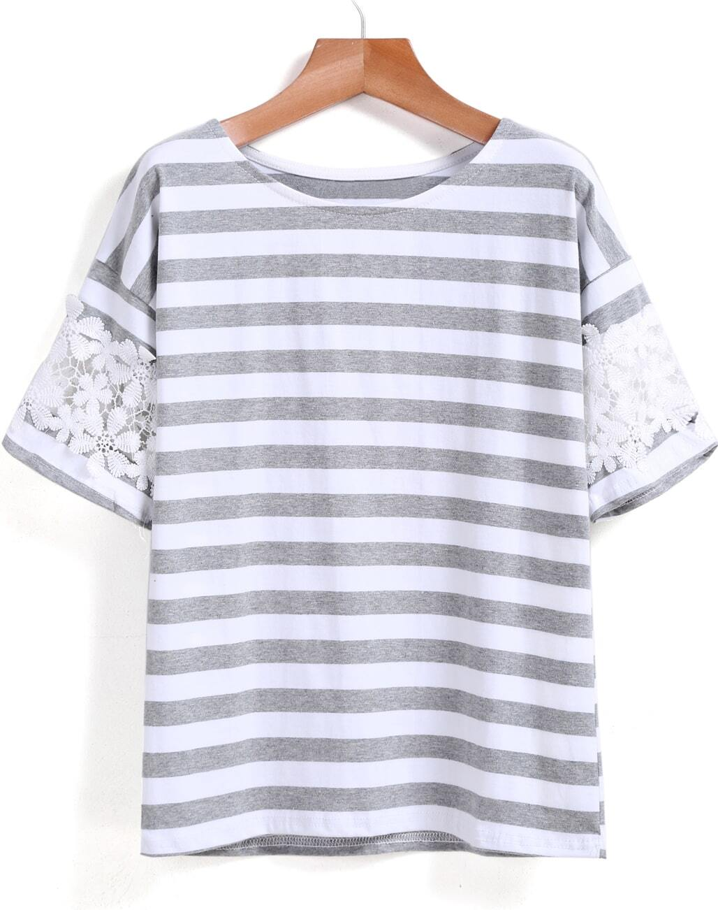 Grey white lace short sleeve striped t shirt shein sheinside for Grey striped t shirt
