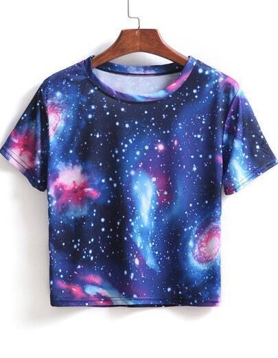 Blue Short Sleeve Galaxy Print Crop T-Shirt