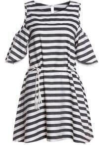 Black White Off the Shoulder Striped Dress