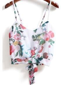 White Spaghetti Strap Floral Knotted Cami Top
