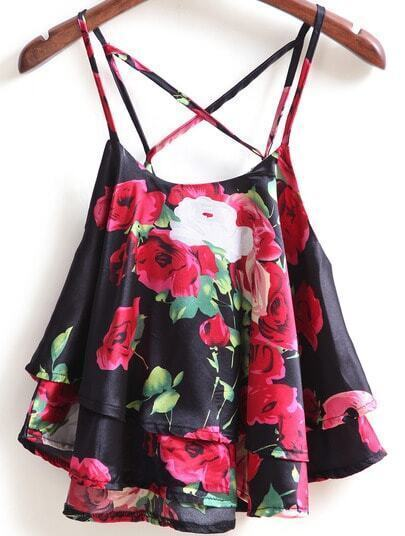 Black Spaghetti Strap Rose Print Cami Top