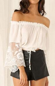 White Off The Shoulder Chiffon Crop Blouse