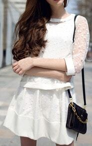 White Polka Dot Top With Shift Dress