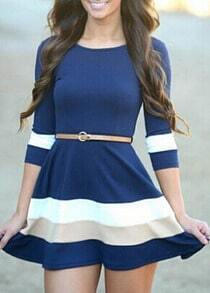 Color-block Half Sleeve Flare Dress