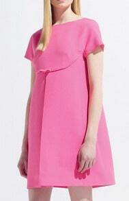 Pink Short Sleeve Loose Dress