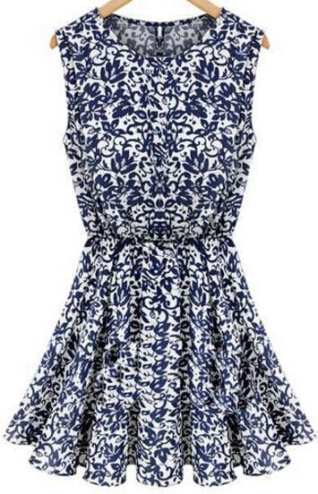 Blue Sleeveless Pastel Floral Print Dress
