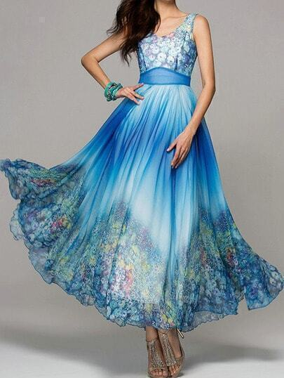 Blue Sleeveless Florals Maxi Dress