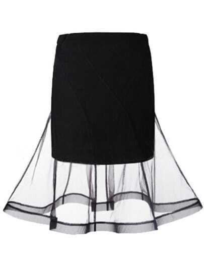 Black With Organza Bodycon Skirt