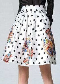 White Polka Dot A-Line Skirt