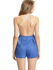 Blue Criss Cross Backless With Zipper Jumpsuit
