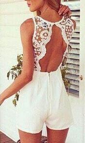 White Sleeveless Open Back Lace Jumpsuit