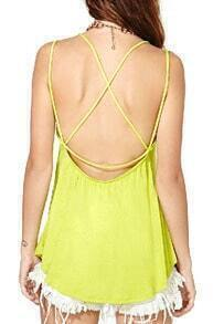 Yellow Round Neck Backless Tank Top