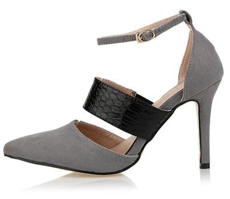 high heels spitz schunspitze mit riemen grau german shein. Black Bedroom Furniture Sets. Home Design Ideas