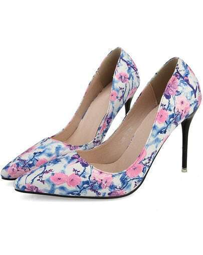 Pink Point Toe Florals High Heeled Pumps