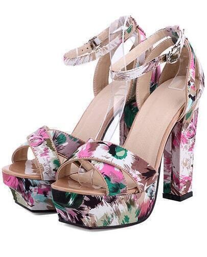 Sandalias de tacón plataforma flores-rosa