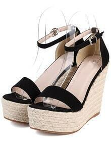 Black Platform Ankle Strap Wedge Sandles