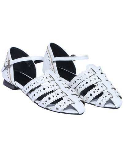 White Hollow Slingbacks Flat Shoes