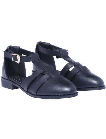 Black T Strap Flat Shoes