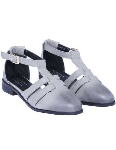 Grey T Strap Flat Shoes