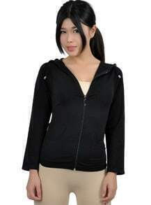 Black Long Sleeve Full-Zip Hooded Fleece Jacket