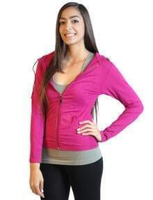 Magenta Long Sleeve Full-Zip Hooded Fleece Jacket