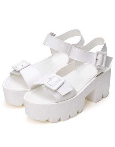 White Buckle Strap Platform Sandals