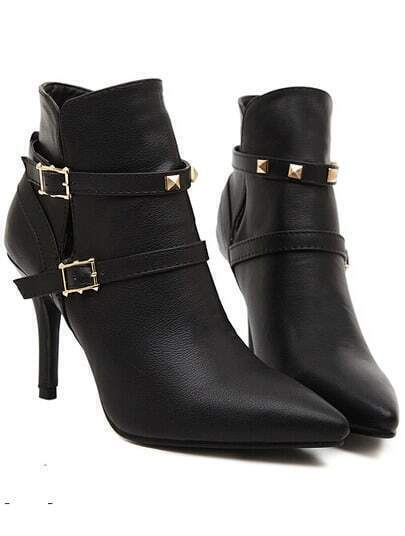Black Point Toe Buckle Strap High Heeled Boots