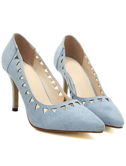 Blue Point Toe Hollow High Heeled Pumps