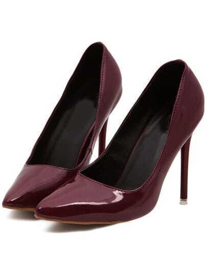 Wine Red Point Toe High Heeled Pumps