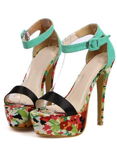 Green Platform Florals Slingbacks Pumps